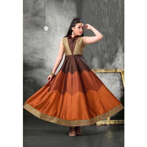 Exclusive Girls Readymade Gown परट गउनस Kesariya