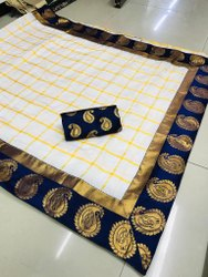 Panetra Chex Saree With Jacquard Blouse