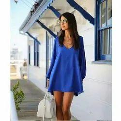 Blue Casual Wear Chiffon V Collar Dress One Piece, Handwash