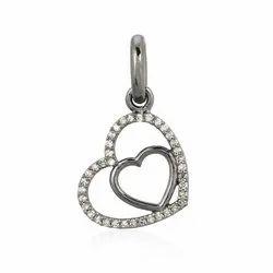 Chic Designs Pave Diamond Heart Pendant, Size: 23X14 MM, Gross 4.01 Gms