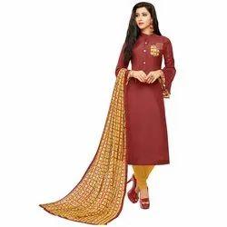 Rajnandini Brown Chanderi Silk Plain Semi-Stitched Dress Material With Printed Dupatta