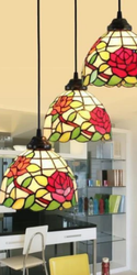 Pastoral Rose Stained Vintage Glass Chandelier