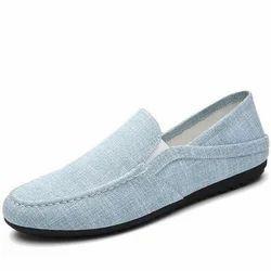 Canvas Mens Light Grey Loafer Shoes