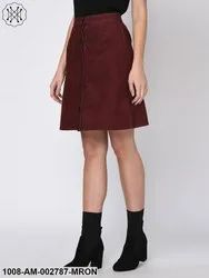 Maroon Courdroy Skirt for Women