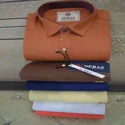 Nebas Male Mens Fancy Plain Mix Cotton Shirt
