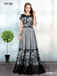 Black,Gray Women Exclusive Gowns