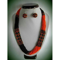 Party Wear Artificial Beaded Stylish Necklace Set, Packaging Type: Packet