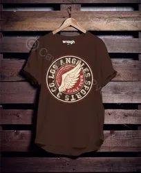 Men Cotton Printed Brown Round Neck T Shirt