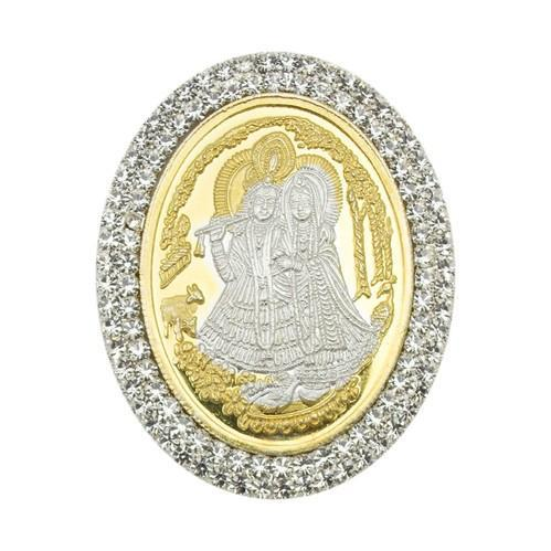 Radha Krishna Oval Shape Silver Coin Of 10 Gram In 999
