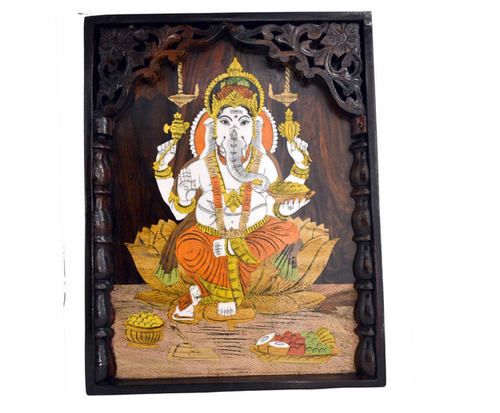 Santarms Beautiful Handcrafted Ganesha Ji Wooden Inlay Wall Painting