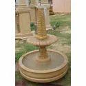 Brown Teakwood Stone Garden Fountain