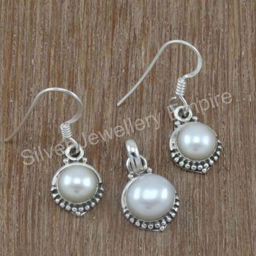 White Wedding Pearl Gemstone 925 Sterling Silver Jewellery Set
