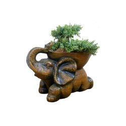 Brown Elephant Shaped Plant Pot