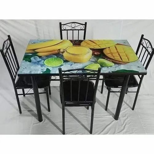 1 Table 4 Chair Black Metal Dining Table Set For Home Rs 9000 Set Id 22353616548