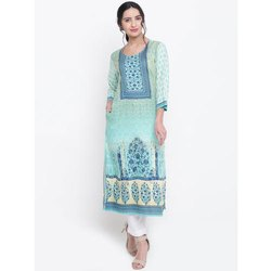 Fancy Round Neck Digital Printed Kurti