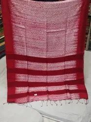 Festive Wear Plain Red And White Silk Sibory Saree, With Blouse Piece