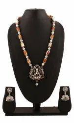 SPJ028 Laxmi Temple Pendant Coffee Brown Gemstone Beads