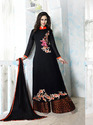 PR Fashion Navy Blue Georgette Semi Stitched Suit