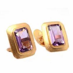 Amethyst Micron Gemstone 925 Sterling Silver Mens Cufflinks Jewelry