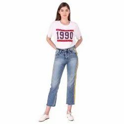 Snugg Fit Stretchable Ladies Classic Blue Yellow Stripe Denim Jeans, Waist Size: 26-32
