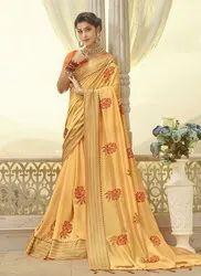 Resham Work Muslin Silk Designer Sarees