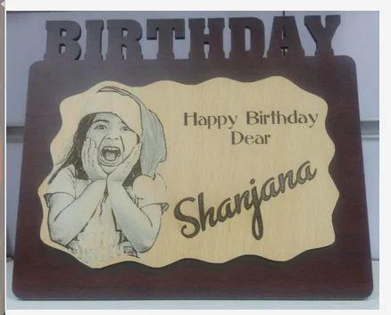 Birthday Design Wood Engraving Table Frame