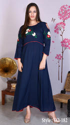 Blue Rayon Straight Long Gown With Wool & Pearl Embroidery