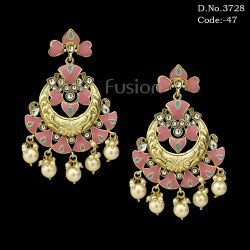 Designer Meenakari Chandbali Earrings