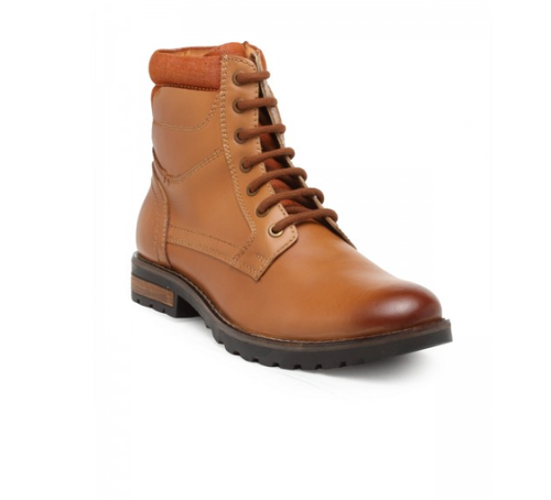 Tan Casual Ankle Lace-Up Boots, Size