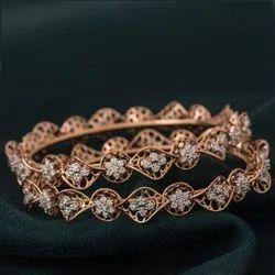 Rose Plated Gold Diamond Bangle