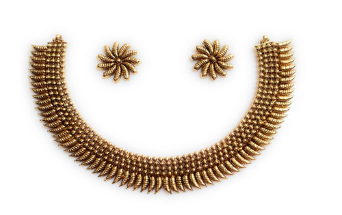 3652853033a46 Gold Plated Necklace Set In Traditional Design