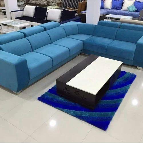 Bon Sky Blue 6 Seater Designer Blue Sofa Set