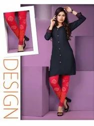 City Girl Rayon Kurtis With Fancy Printed Leggings