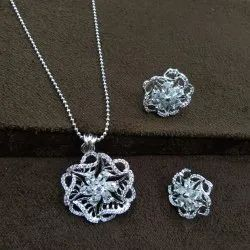 Party & Casual Wear AJ1093 New Design Silver Plated Pendant Set