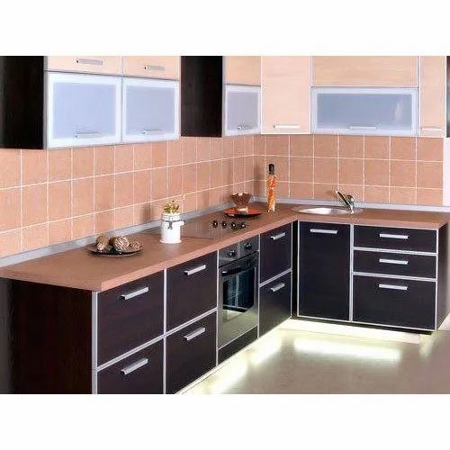 Wooden L Shaped Modular Kitchen Warranty 4 Year Rs 1200 Square Feet Id 21574920230
