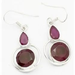Ruby 925 Sterling Silver Well Finished Earrings