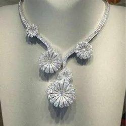 White Crystal Diamond Necklace