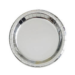 Event and Party Supplies Plain Round Disposable Silver Foil Paper Plate, Packaging Type: Bag