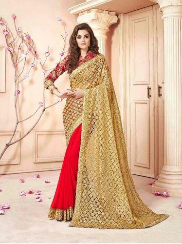 7d979c7088 60 Gram Georgette & Blouse Art Silk Saroj Cinderella Indian Ethnic Saree,  With Blouse Piece