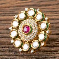 Gold Plated Kundan Classic Ring 300319