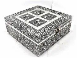 ShCraft Design Silver Handcrafted Wooden Storage Box, Size: 8x5x4 Inch