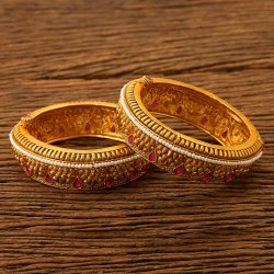 Antique Matte Gold Plated Openable Bangles 200503