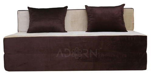 3 Seater Brown and Gold Velvet Sofa Cum Bed