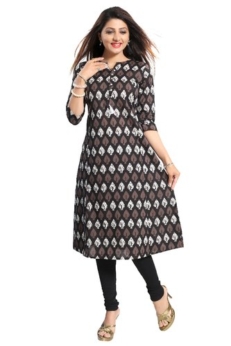 Printed 3/4th Sleeve ALC Creations Women' s Cotton Kurti