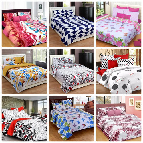 Multi Colored And Red Pure Cotton And Organic Cotton Daisey Texture King Cotton  Bed Sheets