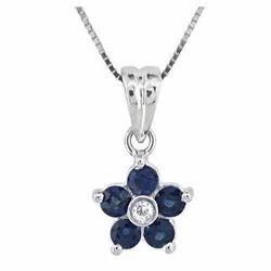 Blue Sapphire Floral Pendant