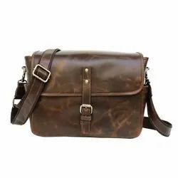 Plain Brown Genuine Leather Handmade Camera Bag