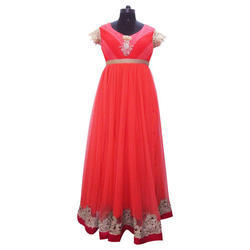 Ladies Red Party Wear Gown