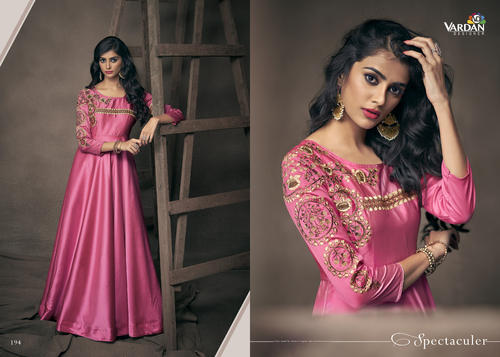 Fancy Silk Anarkali Suits, Size: L,XL and XXL