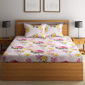Swayam 120 TC Cotton Double Bedsheet with 2 Pillow Covers - Floral, Multicolour